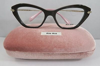 e1e01b61a6a Miu Miu VMU 04L DHO-1O1 Brown on Gold   Pink New Authentic Eyeglasses 52mm