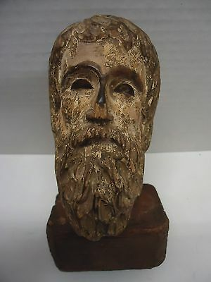 "ANCIENT ROMAN or GREEK WOODEN 6"" HEAD SCULPTURE ON WOODEN MOUNT"