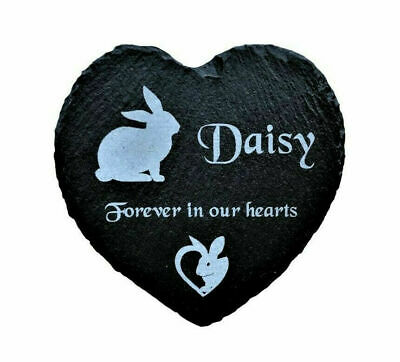 Personalised Engraved Slate Stone Heart Pet Memorial Grave Marker Plaque Rabbit