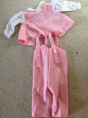 Vintage Baby girl Shirt & Overall~PINK~ 3-6 Months