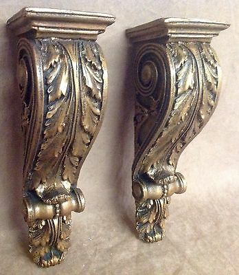 Antique Finish Shelf Acanthus leaf Wall Corbel Sconce Bracket Home Decor Pair