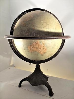 Early Rann Mcnally Twelve Inch Terrestrial Globe Cast Iorn Base And Seround