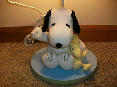 """Peanuts Snoopy and Woddstock Lamp 12"""" no shade works"""