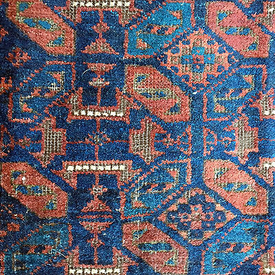 """Hand made antique Collectible Afghan Baluch Timuri Bagface rug 2' X 1'7"""" 1880"""