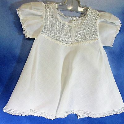 EG-Vintage white handkercheif linen doll baby dress lace tucks 3-6 mo.
