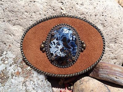 Cowboy/cowgirl Western Wear Belt Buckle Suede Metal And Petersite Cabochon
