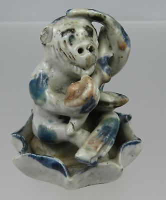 Antique Chinese Ming Period Blue & White Monkey & Lotus Porcelain Figurine