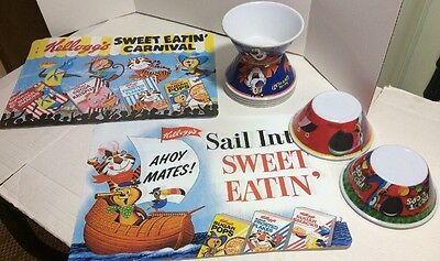 "Vintage 7 Kellogg ""Tony the Tiger"" and ""Toucan Sam"" Cereal Bowls-4 Place Mats"