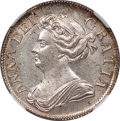 Great Britain 1708 Anne Silver Shilling NGC MS-65