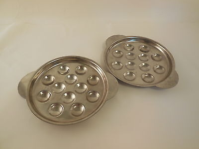2 ESCARGOT PLATES  Stainless Steel