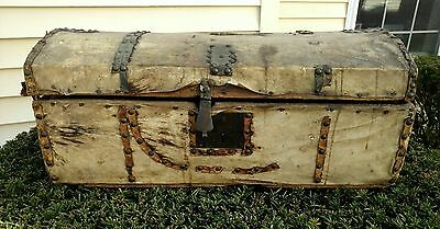RARE Antique Vintage Trunk Chest Pre-1832 Deerskin Civil War Stagecoach Folk Art