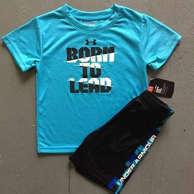 "Boy's Size 7 Under Armour ""born To Lead"" Shirt & Black Shorts Outfit Nwt"