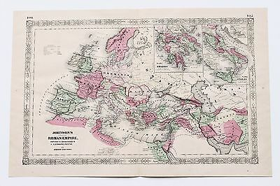 1864 Roman Empire Map Europe Middle East Asia Africa Rome LARGE RARE ORIGINAL