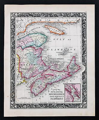 1860 Nova Scotia New Brunswick Canada Map Railroads Prince Edwards ORIGINAL