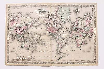 1864 World Map Exploration Routes United States Asia Africa China ORIGINAL RARE
