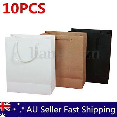 10pcs/set Brown Kraft Paper Handle Shop Bags Food Candy Wedding Party Gifts