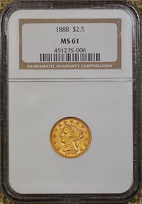 1888 $2.50 NGC MS61 Liberty Head Gold Quarter Eagle - Low Mintage of 16,001
