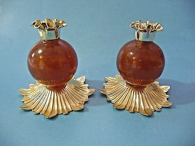 "Mid Century Mod Retro Amber Lucite Ball on Brass Candle Holders 3 1/2"" Tall"