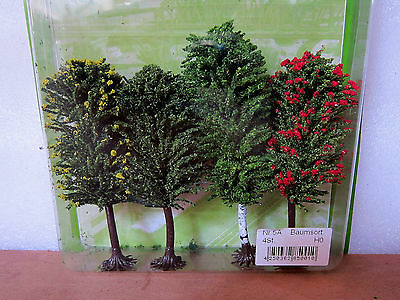 Jordan scenery HO Scale Mixed trees X 4 #5A 10cm-11cm New in pack