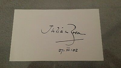 Julian Bream  / Classical Guitar Guitarist signed autographed 3 × 5 card