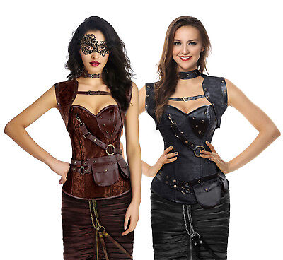 Charmian Women's Steampunk Gothic Retro Steel Boned Corsets with Jacket and Belt