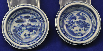 Antique Canton Blue & White Chinese Porcelain Pair of Condiment Pats 19th Cen