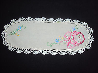 Vintage Hand Embroidered Orchid & Crochet  Linen Sandwich Tray Doily - Lovely
