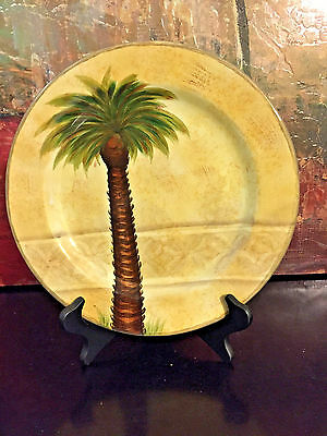 1 Tabletops Unlimited Dinner Plate Bellagio Palm Tree Hand Painted 10 7/8  chip & TABLETOPS UNLIMITED BELLAGIO Palm Tree Ceramic 8 1/2