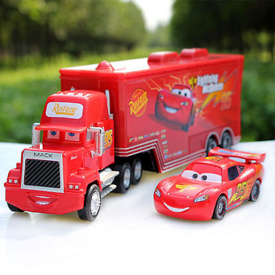 Disney Pixar Cars Lightning McQueen & Mack Superliner Truck Diecast Play Set Toy