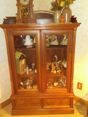 Beautiful Antique Stepback Glass Front Bookcase Victorian America Walnut Display