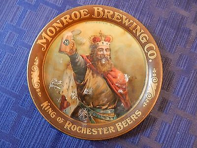 Monroe Brewing Co King Of Rochester Beers Round Metal Tip Tray, Very Nice, Look!