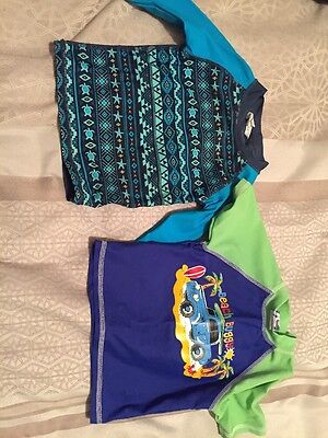 Boys swimwear bundle, Rash vest Long Sleeve  Sz0 & one Short Sleeve Sz2