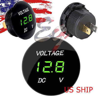 Green LED Digital Waterproof Voltmeter A Gauge Meter 12V-24V Car Auto Motorcycle