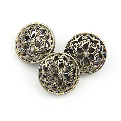 10pcs Brown Hollow Flower Metal Round Shank Buttons Sewing Craft Embellishment