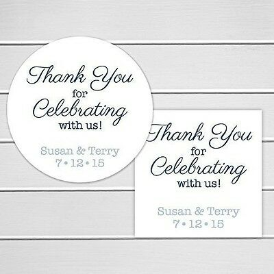 Thank You For Celebrating With Us Custom Wedding Stickers Personalized