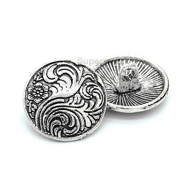 10pcs Silver Flower Tree Metal Round Shank Button Sewing Craft Embellishment 17