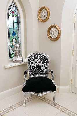 French Louis Armchair Silver Black Shabby Chic Bedroom Hall Wooden Frame Chair