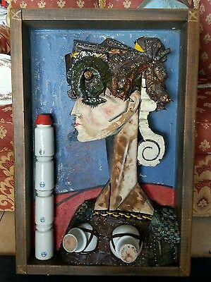 Mixed Media Framed Original Piece By Ted Jonsson Recycled Art 1987 3D Effect