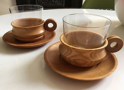 mid century glass and wood Cup And Saucers X2 Stylish Tiki Vintage Retro !