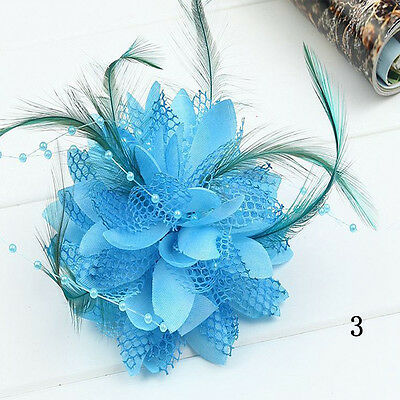 New Flower Feather Bead Corsage Hair Clips Fascinator Bridal Hairband Brooch Hot