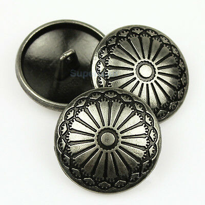 10pcs Flower Carved Metal Round Shank Button Sewing Craft Embellishment Coat 23