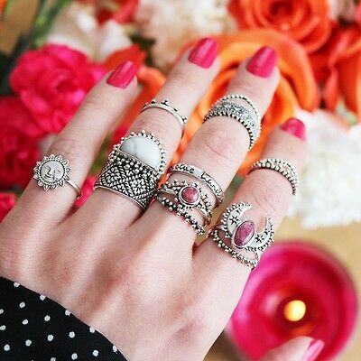 Stone Carved Finger Ring Set Antique Silver Turquoise Knuckle Rings Sets Sale