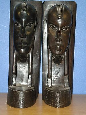 VINTAGE African carved tribal wooden head sculptures BOOKENDS