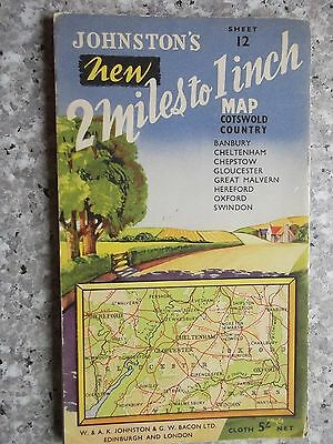 Johnston's 2 mile  Map Cotswold Country.Cloth