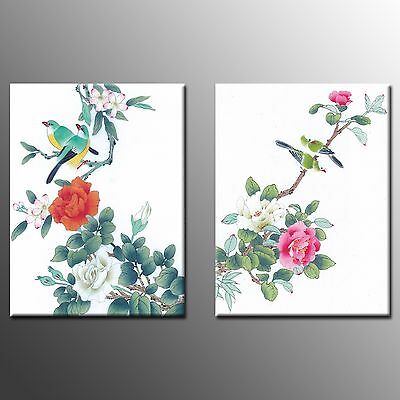 FRAMED Canvas Wall Art Prints Red Flower Oil Paintings For Home Decoration-2pcs