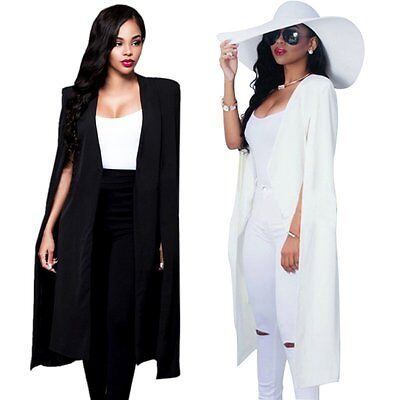 Women Poncho Trench Cardigan Long Suit Blazer Cloak Cape Coat Jacket Outwear AU