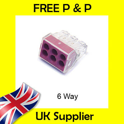 6 Way Reusable Wire Cable Block Terminal Electrical Connector like Wago 773-106