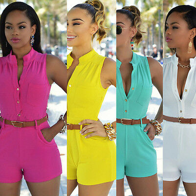 Women Summer Ladies Clubwear Playsuit V-neck Bodycon Jumpsuit Romper Trousers