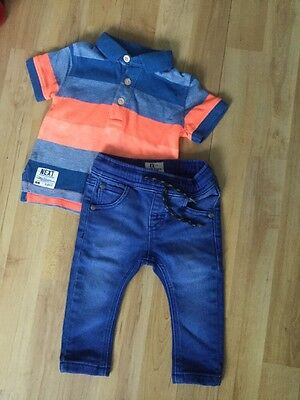 Next Baby Boys Summer Outfit Age 3-6 Months Bright Polo Top, Soft Jeans