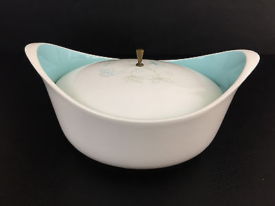 vintag Taylor Smith & Taylor covered ceramic serving bowl 1950's 1960's blue